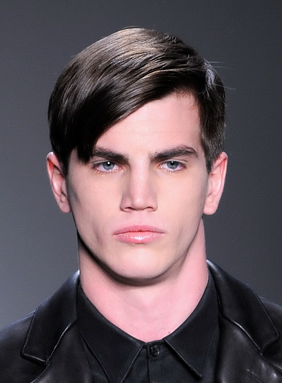 A model walks the runway at the Calvin Klein Men's Collection Fall 2010 Fashion Show during Mercedes-Benz Fashion Week at 205 West 39th Street on February 14, 2010 in New York City.