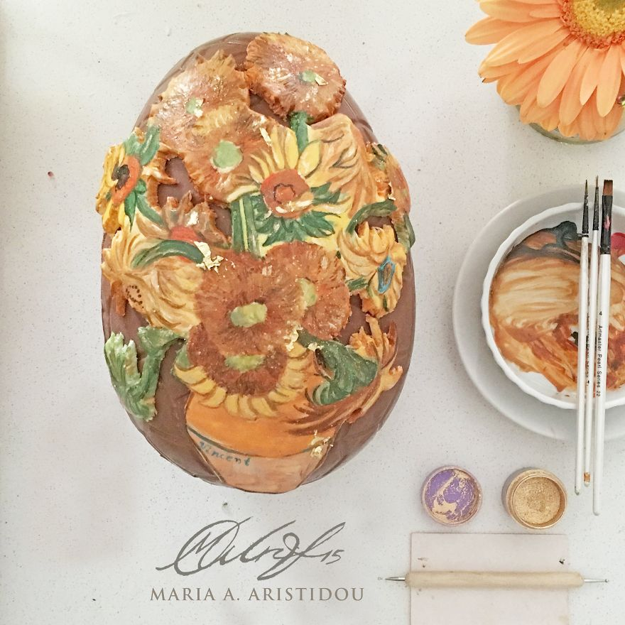 I Painted Van Gogh's Sunflowers For My Easter Chocolate Egg