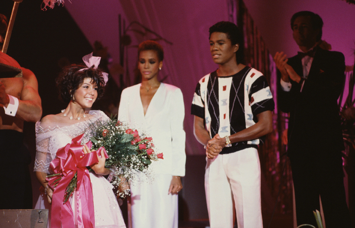 Marisa Tomei ( Marcy Thompson) at a lavish 'Cinderella Ball' costume ball. Whitney Houston and Jermaine Jackson performed at the event. 1984. Credit: CBS Broadcasting Inc.