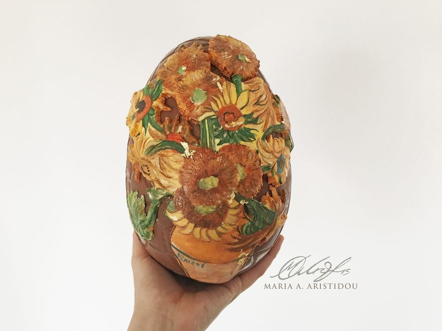 I Painted Van Gogh's Sunflowers For My Easter Chocolate Egg-855_2