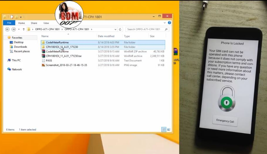 Oppo A71 cph1801 (2018) flash & pattern+password+frp reset done