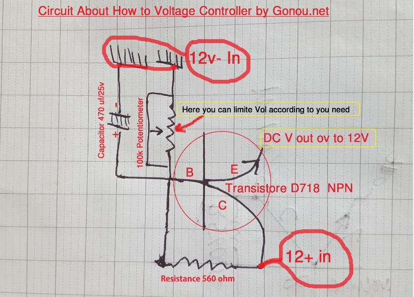 Circuit  How to make power controller with Transistor D718