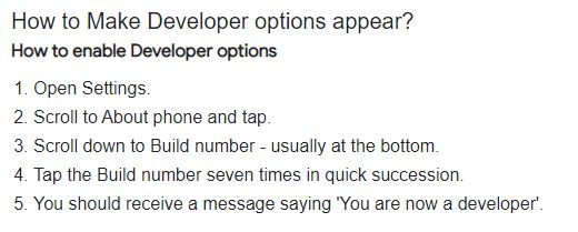 How to show or enable Developer options